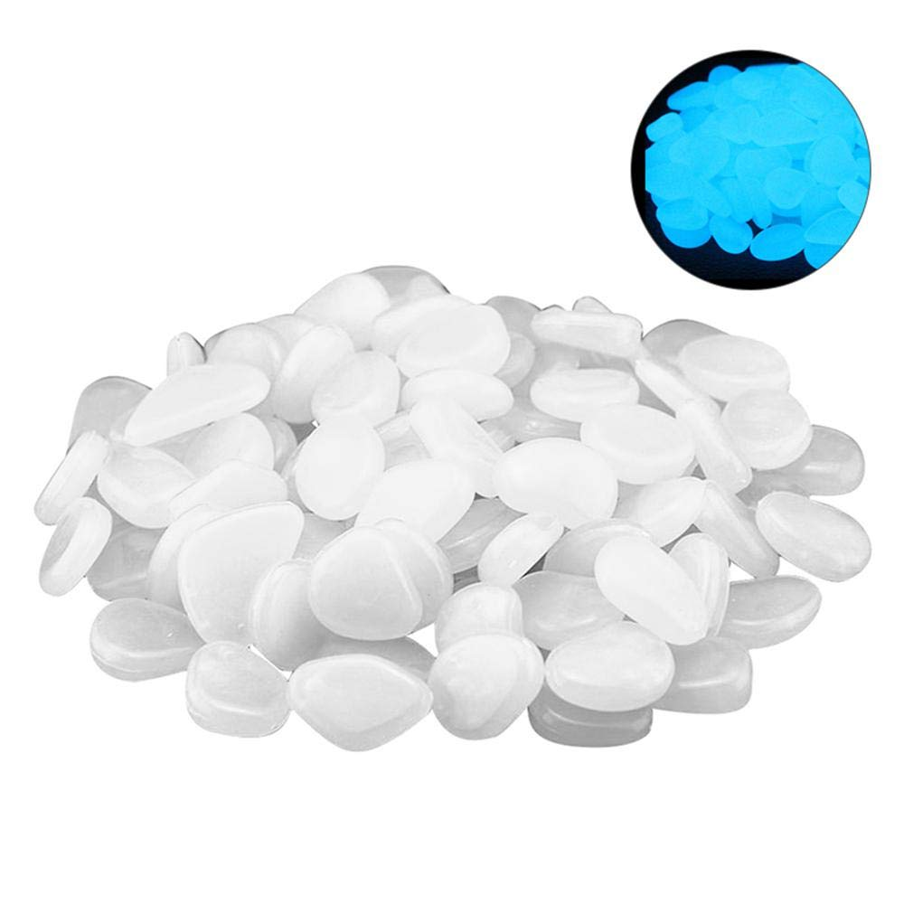 100 Pcs Luminous Garden Pebbles, Pawaca Deep Blue Glow Stones Rocks for Walkways, Garden Path, Patio, Lawn, Garden, Yard Decor, Fish Tank, Aquarium, Glow in The Dark Stones, 15 Years Long Lasting