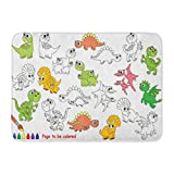 Aabagael Bath Mat Black Dino to Be Colored the Coloring Book for Preschool Kids with Easy Educational Gaming Level Colorful Bathroom Decor Rug 16'' x 24''