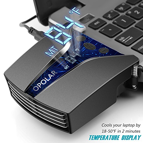 OPOLAR Laptop Fan Cooler with Temperature Display, Rapid Cooling, Auto-Temp Detection, 13 Wind Speed(2600-5000RPM), Perfect for Gaming Laptop, Nintendo Switch