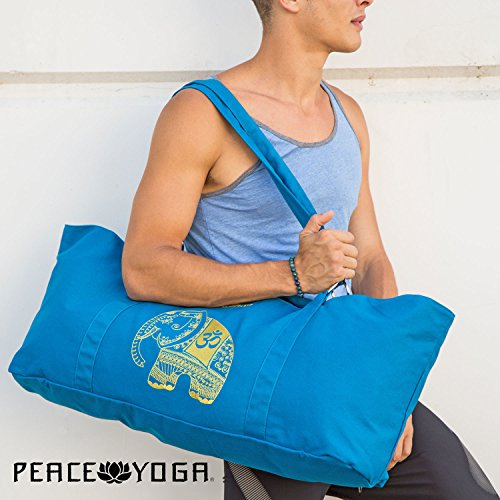 Peace Yoga® Blue Yoga Mat Carrier Tote Bag With