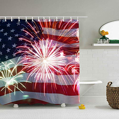 Abaysto Print 4th of July Fireworkss Polyester Fabric Shower Curtain Sets with Hooks Waterproof Mildew Bathroom Decor Holiday Great Gift -