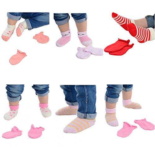 Assortiti e scatola Eesa Adam 1 di 5 paia assortiti muffole colorati calzini Nascita regalo Neonata 4 paia Modelli q54815Pw