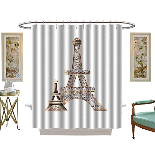 luvoluxhome Shower Curtains Sets Bathroom Brooch Eiffel Tower on a White Background Patterned Shower Curtain W48 x L72 ()