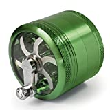 MasterGrind Mill 4 Piece Herb Grinder - Crank Handle Pollen Catcher - Large 2.5 Inch Green Aluminum