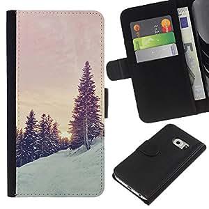 A-type (Trees Snow Mountain Sunrise Sunset) Colorida Impresión Funda Cuero Monedero Caja Bolsa Cubierta Caja Piel Card Slots Para Samsung Galaxy S6 EDGE (NOT S6)