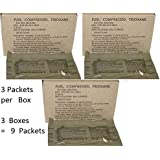 U.S. Military Fire Starter Trioxane Fuel Bars 3 Boxes of 3 Bars = 9 Bars Total