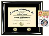Two Double Gold Seal Insignia Premium Glossy Majestic Black with Gold Accents University Graduation Diploma Frame - College Certificate Matted Frame - Top mat (Black) Inner mat (Gold)