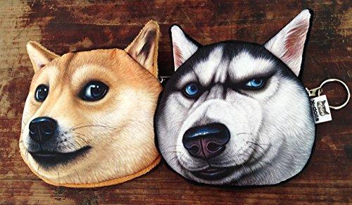 Ai-life 1 Stück Multi funktion 3D Gesicht Tier Hund Gesicht Reißverschluss Fall Münzengeldbeutel Brieftasche Beutel Damen Geldtasche Kosmetische Makeup Tasche Stil 1