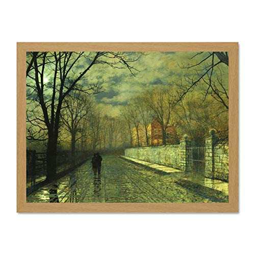 - Doppelganger33 LTD John Atkinson Grimshaw Paintings Figures Moonlit Lane Rain Art Large Framed Art Print Poster Wall Decor 18x24 inch Supplied Ready to Hang