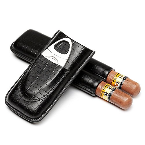 CiTree Cigar Case, Genuine Leather Cigar Travel Case with Cutter (for 2 Cigars)