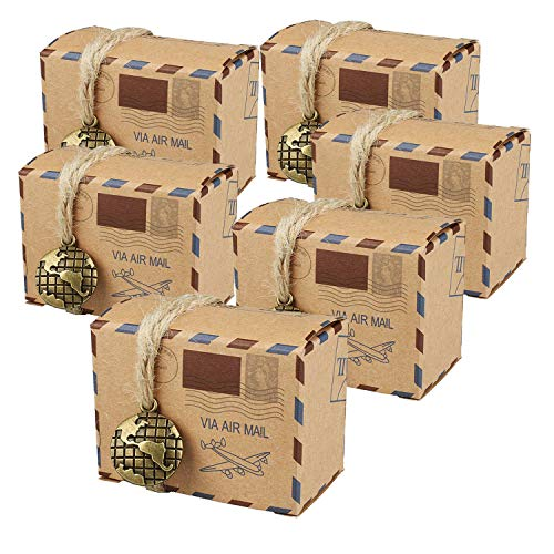 (Faylapa 100 Sets Airplane Air Mail Themed Suitcase Candy Boxes,Vintage Kraft Paper Gift Bag for Travel Theme Party,Wedding,Birthday,Bridal Shower,Baby Shower)