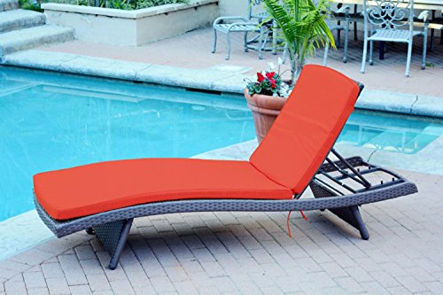 2 Adjustable Espresso Resin Wicker Outdoor Patio Chaise Lounge Chairs - Red Cushions price