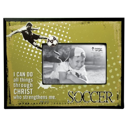 Soccer 4 x 6 Wooden Photo Frame - Philippians 4:13 ()