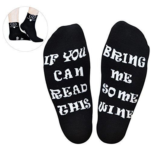 GoldWorld Novelty Cotton Wine Socks Birthday Gifts for Women/Mom/Men w/Funny Saying If You Can Read This Bring Me a Glass of Wine Sock for 30th/40th/50th/60th/70th Birthday Retirement Gifts by GoldWorld