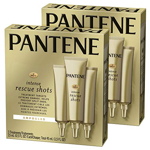 Pantene, Rescue Shots Hair Ampoules Treatment, Intensive Repair of Damaged Hair, Pro-V, 0.5 fl oz (3 Count), Pack of 2