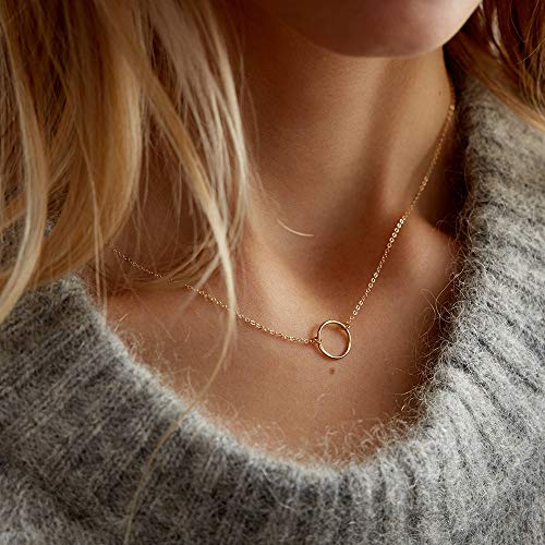 (Forevereally Simple Karma Necklace Hammered Open Circle Pendant Necklace 14K Real Gold Plated Necklace Dainty Necklace for Women)