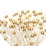Cocktail Picks 100 Counts Handmade Sticks Wooden Toothpicks Cocktail Sticks Party Supplies - Matt Gold Pearl by HakunaMatata