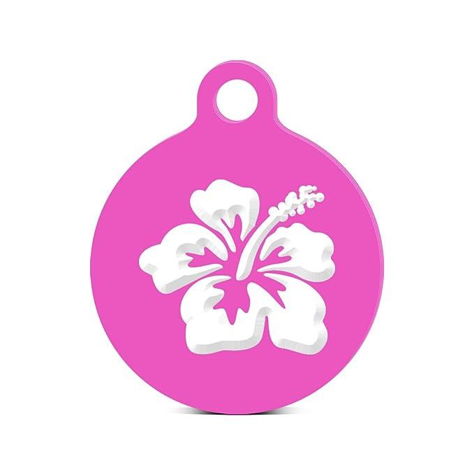 Amazon.com: Hibiscus flor ronda Llavero con Tab Engraved ...
