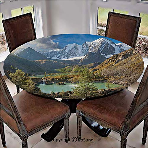 Elastic Edged Polyester Fitted Table Cover,Altai Mountains Chuya Ridge Lake Russia Siberia Sunbeams Morning Sky View,Fits up 40