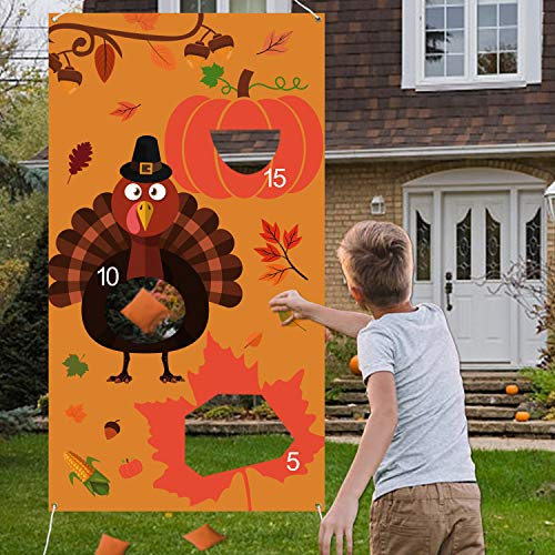 Tifeson Thanksgiving Games - Thanksgiving Bean Bag Toss Game with 3 Bean Bags for Kids Adults - Turkey Hanging Toss Game Banner Fall Thanksgivng Decorations Supplies (Turkey Games)