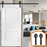 HomeDeco Hardware 5 FT-10 FT Rustic Sliding Wood Barn Door Rolling Antique Hardware Flat Tracks Single Doors Kit (6 FT Single door kit)