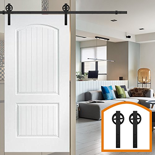 HomeDeco Hardware 6.6 FT Rustic Big Wheel Sliding Wood Barn Door Rolling Antique Hardware Flat Tracks Single Doors Kit (Panel Door Flat White)