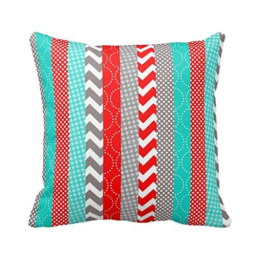 Cotton Stripe Pattern Pillowcase Bright Neon Red And Teal Geo Stripes Pillow Covers 18 x 18 (Teal And Red)