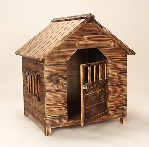 Bois sapin fonc pour chien maison niche abri ext rieur en for Porte abri exterieur