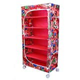 Little One's 6 Fabric Shelves Folding Wardrobe- Jungle Red. Powder Coated Strong And Sturdy Steel Structure (USP), Dimensions: 22' X 12' X 45'