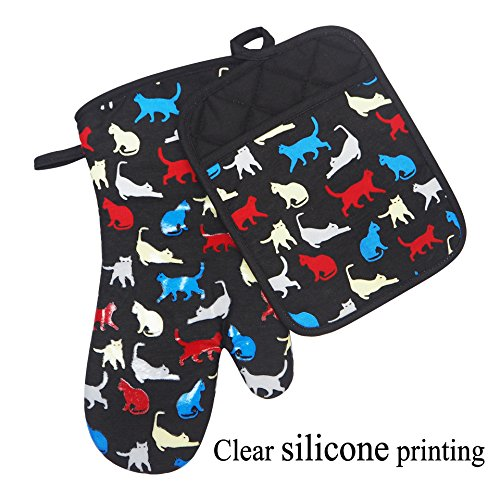 Heat Resistant Kitchen Oven Mitts With transparent Non-slip Silicone Printed on cats design, oven gloves and pot holder set for BBQ cooking baking, Grilling, Barbecue, microwave, Machine Washable