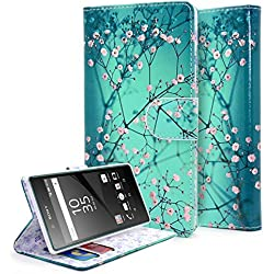 Xperia Z5 Case, NageBee [Kickstand Feature] Premium PU Leather Flip Fold Wallet Case with [ID&Credit Card Slot] for Sony Xperia Z5 (2015) (Wallet Plum Blossom)