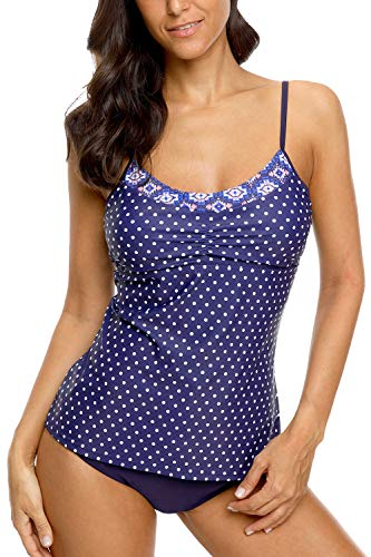 CharmLeaks Women Two Piece Swimsuit Scoop Neck Polka Dot Tankini Swimwear Set Navy M