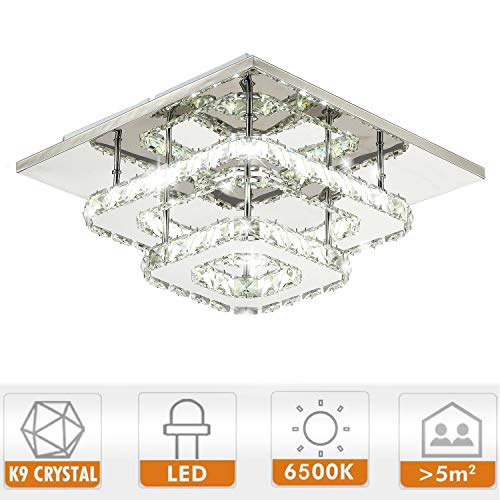 Ganeed Crystal LED Ceiling Light,12 Inch Stainless Steel K9 Modern Flush Mount Lights Fixture,Three Layers Square Chandelier Ceiling Lamp for Dining Living Room Bedroom(36W / 6500K / Cool White)