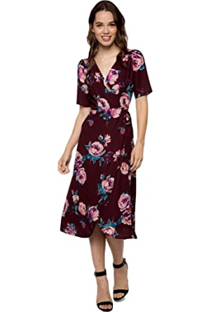 3d709ac50e Everly Women s Short Sleeve Floral Print Midi Wrap Dress (Small ...