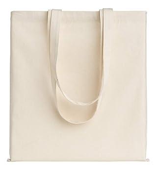 POLHIM-Bolsa Tela 100% Algodón Biodegradable,Lavable,Reutilizable-Asas Largas de 70cm.para Ropa,Manualidades,Alimentos,Verduras,IR de Paseo y para Uso ...