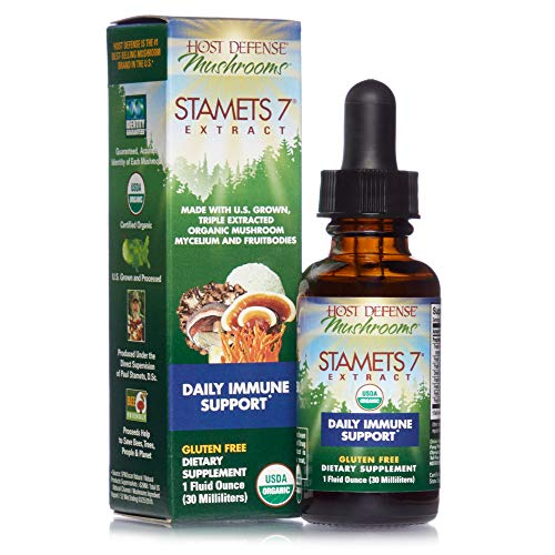 Host Defense, Stamets 7 Extract, Daily Immune Support, Mushroom Supplement with Lion's Mane, Reishi, Vegan, Organic…