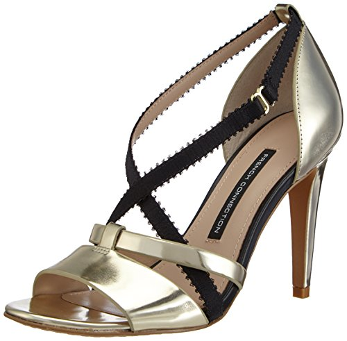 French Connection Women's Nava Ankle Strap Pumps Gold (Gold/Black 3017) Size: 6.5 Gold (Gold/Black)