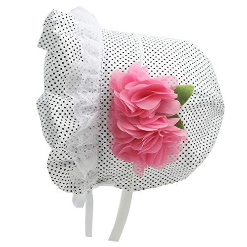 Sun Bonnet for Baby Girl Infant Bow Hats 0-6 Months Newborn Sun Hat (A-Pink Spring Flowers, 3-6 Months)