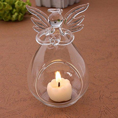 (4PCS Clear Glass Angel Candle Holders Votive Candlestick Plants Flower Vase for Wedding Christmas Valentine Decor)