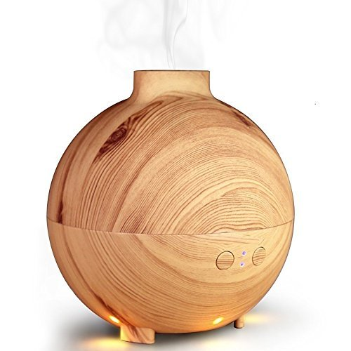 Zenoplige Essential Oil Diffuser With Water Aromatherapy 600Ml Globe Cool Mist Humidifier Ultra Quiet Ultrasonic Nebulizer Filter Free Last Overnight Shadow Wood Grain