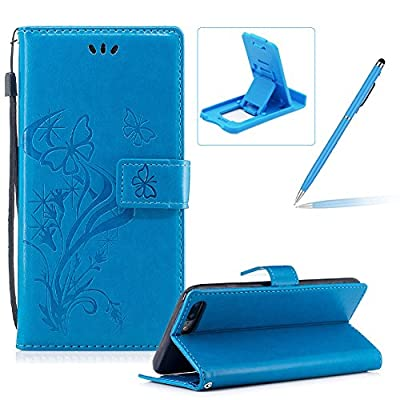Strap Leather Case for iPhone 7 Plus,Portable Wallet Case for iPhone 8 Plus,Herzzer Bookstyle Pretty Stylish [Butterfly Flower Design] Stand Magnetic Smart Flip Case with Soft Inner