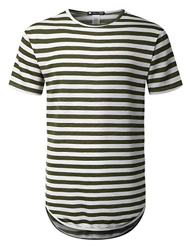 c271c1fcb URBANCREWS Mens Hipster Hip Hop Graphic Print Longline Crewneck T-Shirt