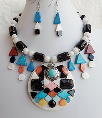 Doll Face Necklace - Southwestern Style Kachina Doll Face Gemstone Mother of Pearl Necklace Earrings One of a Kind