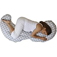 Boppy Slipcovered Total Body Pregnancy Pillow, Gray/White