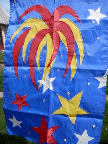 Kite A Flag Go Fly (July 4th Fireworks Flag, Patriotic Porch Flag)