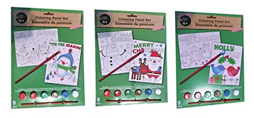 Christmas Holiday Gift Coloring Paint Set Craft Kit for Kids Bundle of THREE (3) Kits With Two Coloring Sheets Each, Santa and Snowman, Love Birds and Penguins, and Penguin and (Snowman Coloring Sheet)