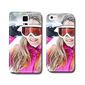 Woman in winter is ski goggles on cell phone cover case iPhone5