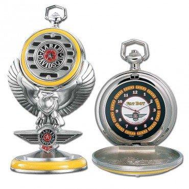 Franklin Mint Harley Davidson Fat Boy Pocket Watch Set B20XR95 - Birthday / Anniversary / Christmas Gift Item
