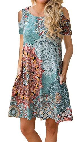 ETCYY Women's Cold Shoulder Casual Sundress T-Shirt Dress for Summer with Pockets Green (A Girl Kiss A Girl Without Dress)