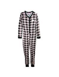 Love Loungewear Women's Buffalo Plaid Onesie Pajamas